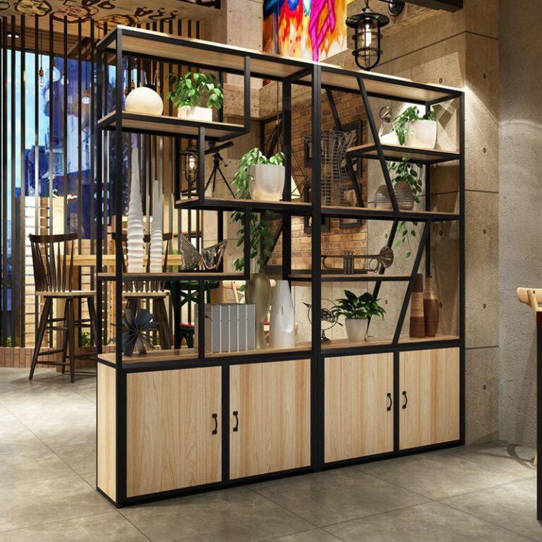 Kệ trưng bày khung sắt bọc gỗ : TP - 0003K
